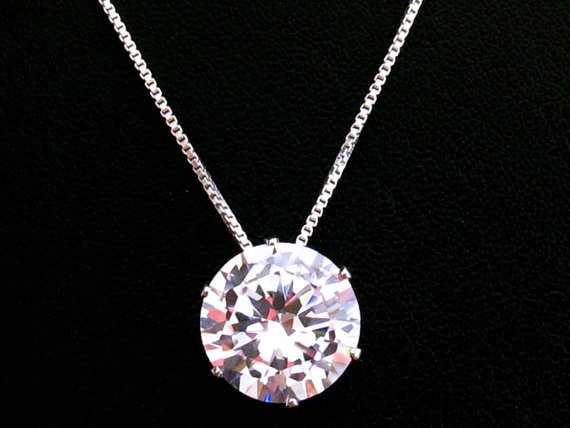 Cubic zirconia necklace 12 mm cz pendant large cubic zirconia cubic zirconia necklace 12 mm cz pendant large cubic zirconia solitaire necklace sterling silver mothers day gift wedding jewelry aloadofball Gallery