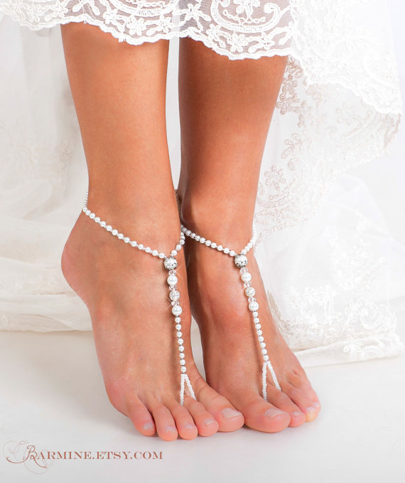 Свадьба - Beaded Barefoot sandals-Bridal jewelry-Filigree Beads-Beach wedding Barefoot Sandals-Bridal barefoot sandal-Footless sandals-Bridal Shoes