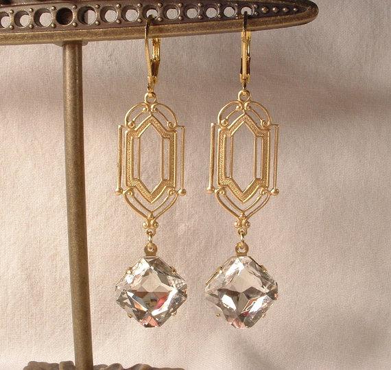 Mariage - Vintage Art Deco Clear Rhinestone Gold Dangle Earrings, Long 1920s Bridal Earrings, Flapper Great Gatsby Wedding Jewelry Bridesmaids Gift