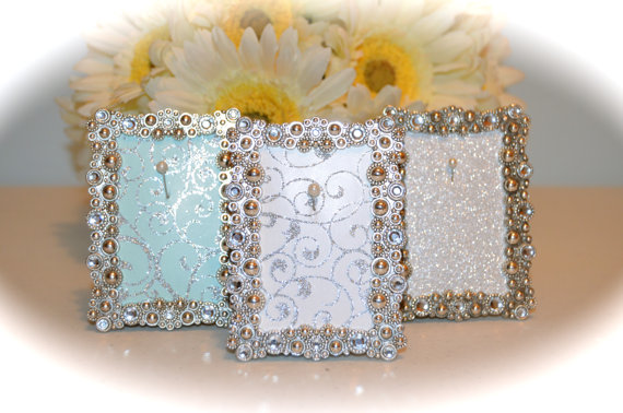 Crystal Silver Engagement Amp Wedding Picture Frame Ring Holder 2 X 3 2265981