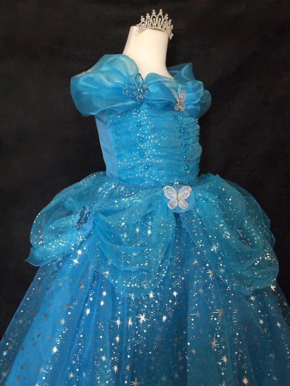 W/tiara Little Girls Sz. 6 CINDERELLA DRESS With BUTTERFLIES ...