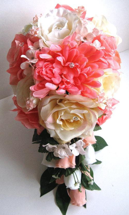 Mariage - Reserved listing Wedding Bouquet Bridal Silk flowers PEACH CORAL CREAM Ivory 16pc Package bridal arrangements