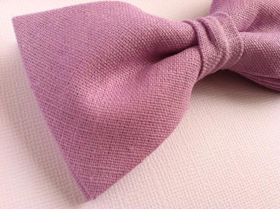 Свадьба - Lilac linen blend bow ties //  Men's/teen, boys, all sizes // Wedding, groomsmen accessories, lavender