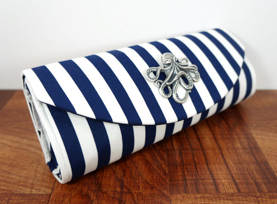 Wedding - Navy blue clutch, blue and white striped clutch, nautical clutch purse with silver octopus. Nautical wedding