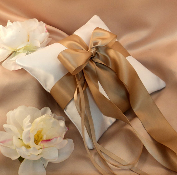 Свадьба - Romantic Satin Ring Bearer Pillow...You Choose the Colors...Buy One Get One Half Off..shown in diamond white/champagne