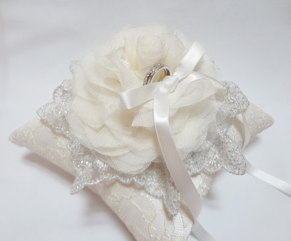 Hochzeit - Wedding ring pillow Romantic Off White Bloom and Silver Lace on Ivory Lace Ring Pillow