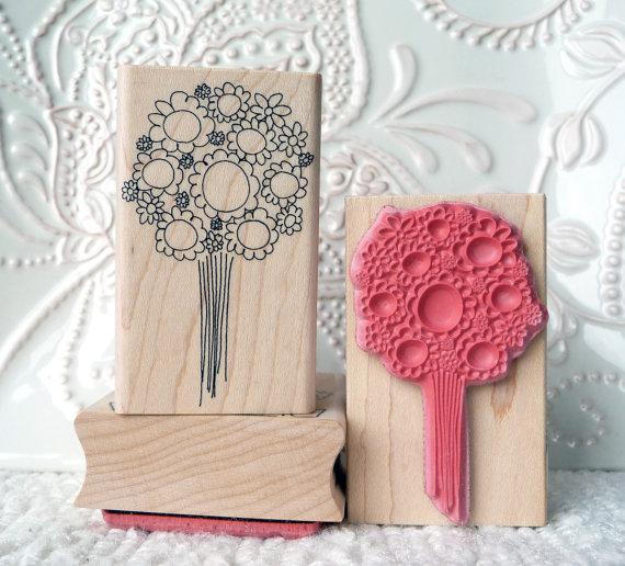 Свадьба - Floral Bouquet rubber stamp from oldislandstamps