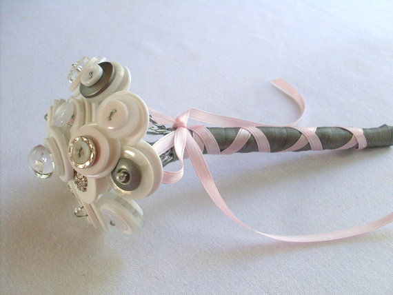 Свадьба - Pink and Grey Toss Bouquet Wedding Flower Girl Mini Bouquet