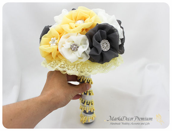 Mariage - Medium Wedding Brooch Bouquet Bridal Beaded Bouquet Custom Bridesmaids Jeweled Flower Bouquet in Maize Yellow, Grey, Silver and Ivory
