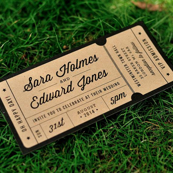 rustic recycled ticket wedding invitation 39 just the