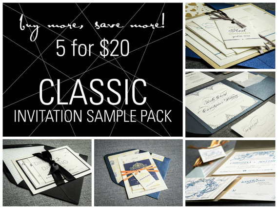Mariage - Classic Invitation Samples, Elegant Wedding Invitations, Bar / Bat Mitzvah, Cocktail Party, Birthday & Corporate Party - SAMPLE SET OF 5
