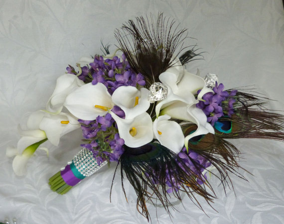 Свадьба - Reserved Calla lily wedding bouquet Real touch mini white calla lily peacock feather cascading bridal bouquet