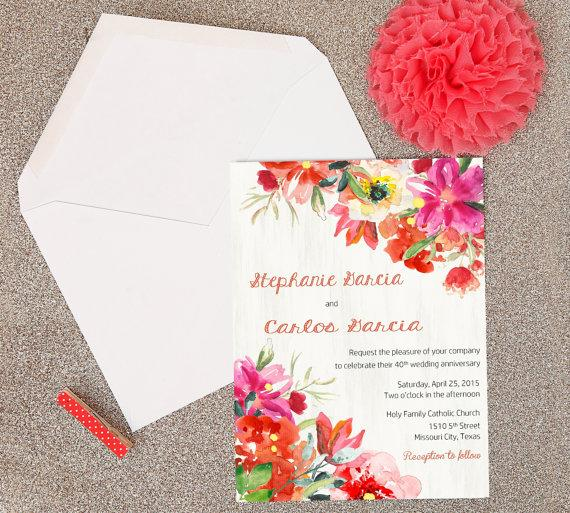 Spring watercolor flowers in red and pink bridal shower baby spring watercolor flowers in red and pink bridal shower baby shower anniversary dinner rehearsal dinner custom party invitations stopboris Images