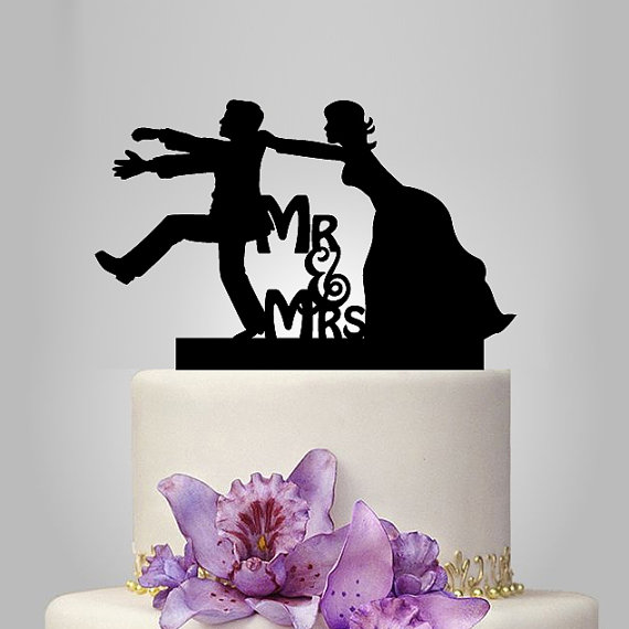 Funny Wedding Cake Topper Monogram Cake Topper Mr And
