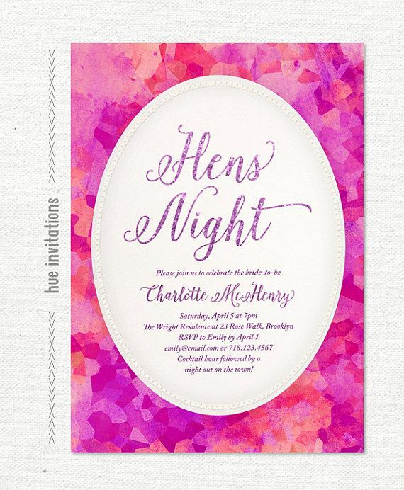 Modern Glam Bachelorette Party Invitation Purple Glitter Hens Invite Violet Magenta Pink Watercolor Printable Night S81