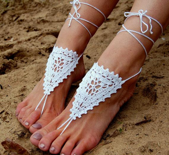 Hochzeit - Crochet Beach Wedding Shoes, Crochet Barefoot Sandals, Anklet, Wedding Accessories, Nude Shoes, Yoga socks, Foot Jewelry