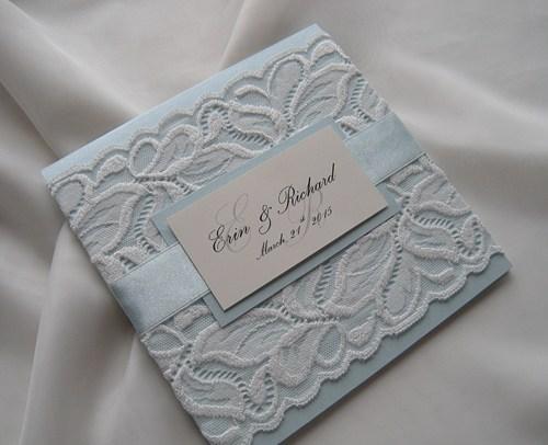 Wedding - Wedding Invitation, Lace Wedding Invitation, Blue Invitations