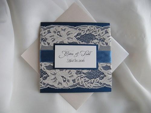 Mariage - Wedding Invitation, Lace Wedding Invitation, Navy Blue Wedding Invita