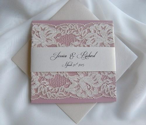 Mariage - Wedding Invitation, Lace Wedding Invitation, Blush Lace Wedding Invita
