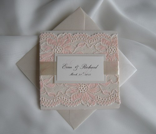 Mariage - Wedding Invitation, Lace Wedding Invitation, Blush Lace Wedding Invita