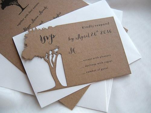 Wedding - Wedding Invitation, Rustic Wedding Invitation, Kraft Invitations