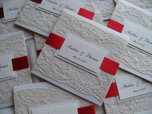 Свадьба - Wedding Invitation, Lace Wedding Invitation, Red Invitations