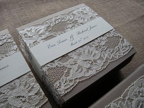 Wedding - Wedding Invitation, Lace Wedding Invitation, Kraft Invitations