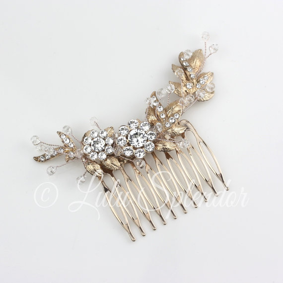 Hochzeit - Bridal Comb Rose Gold Leaf Comb Wedding Hair Comb Swarovski Crystal Bead Wrapped Bridal Hair Comb Hair Accessory MIER CLASSIC