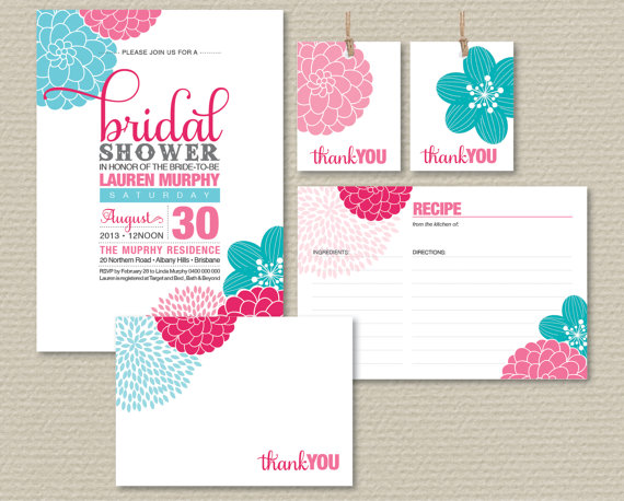 Mariage - Printable Bridal Shower Invitation Party Pack - Pretty Modern Flower Design in Pink & Aqua (PP32)