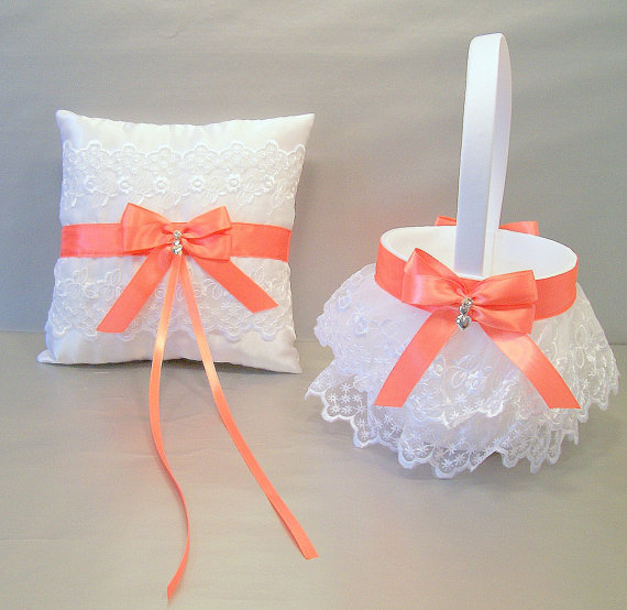 Свадьба - Coral, Wedding, Bridal, Flower Girl Basket and Ring Bearer Pillow Set on Ivory or White ~ Double Loop Bow & Hearts Charm ~ Allison Line