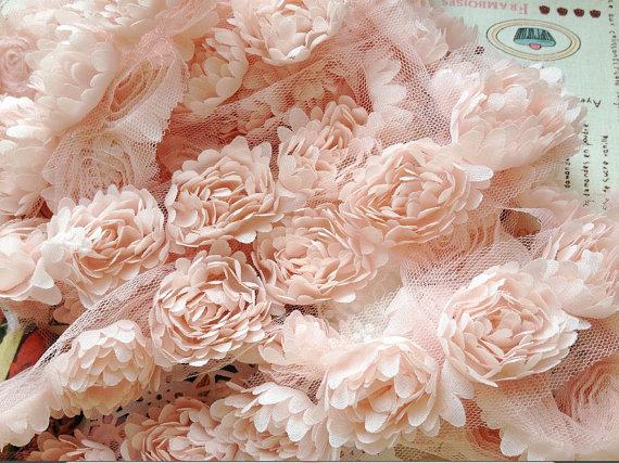 Hochzeit - Nude Pink 3D Chic rosette Lace trim for wedding bouquet bridal lace fabric trim,baby headbands