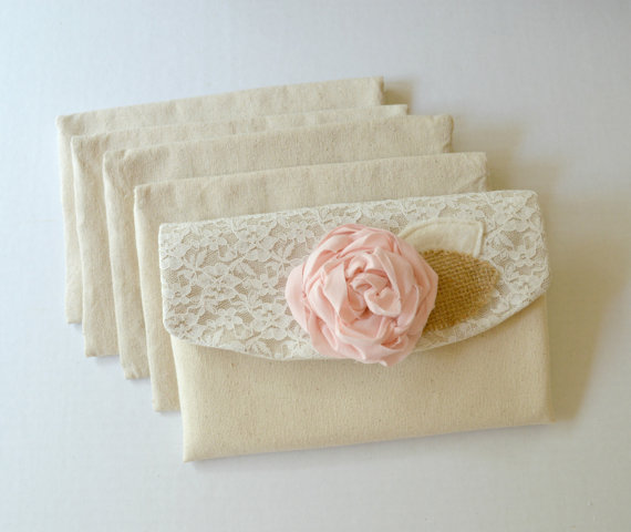 Mariage - 11 Wedding Clutches Bridesmaid Gift Burlap and Lace Rustic Wedding Bridesmaid Clutches Shabby Chic Wedding Purse Burlap Wedding Ivory
