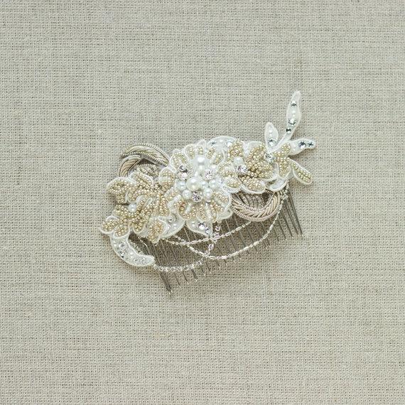 Hochzeit - Wedding hair comb, Bridal hair comb, Rustic Vintage Wedding hair piece accessories, Wedding headpiece, Lace hair comb, crystal hair comb