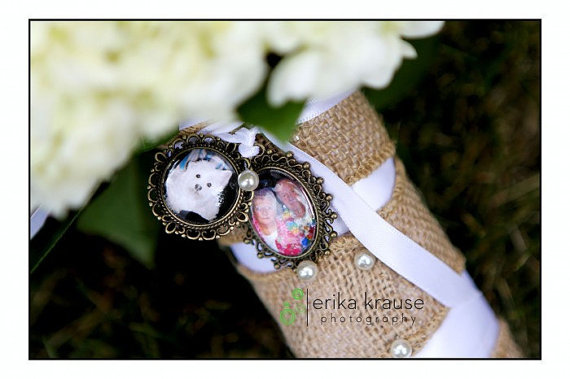 Свадьба - 4 Wedding Bouquet charm kit -Photo Pendants charms for family photo (includes everything you need including instructions)