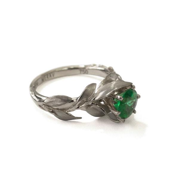 Emerald White Gold Ring Etsy