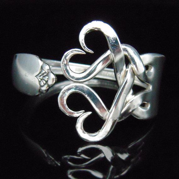 Mariage - Silver Fork Bracelet, Wedding Jewelry, Wedding Bracelet, Something Old, Eco Wedding, Vintage Wedding, Weaving Hearts Design