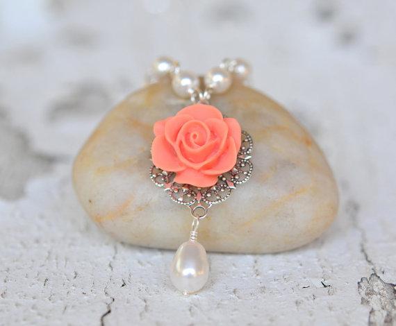 Свадьба - Coral Orange Rose and White Swarovski Pearl Teardrop Necklace, Bridal Necklace, Wedding Bridesmaids Jewelry