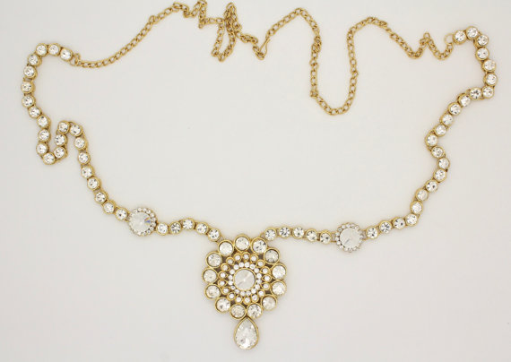Mariage - Handmade Gold Ladies Womens Kundan Stones Adjustable Sari Saree Belt Waist Chain Indian Bollywood Grecian Bohemian Bridal Wedding Prom (B)