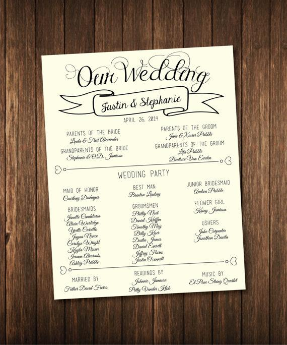 Hochzeit - Ivory/Cream Wedding Poster - Our Love Story/Program - Digital or Printed