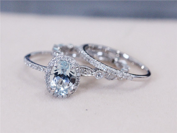 three rings vs 6x8mm blue aquamarine ring w diamond matching band wedding ring set 14k white gold aquamarine engagement ring - Three Band Wedding Ring