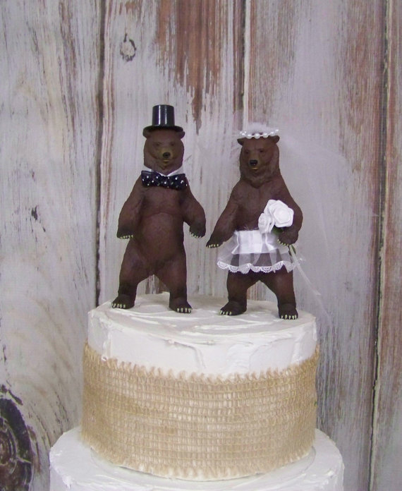 Bear Cake Topper Wedding Animal Woodland Forest