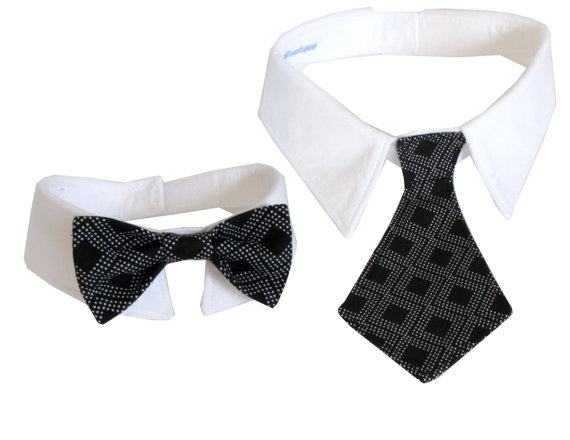 Свадьба - Dog/Cat black diamond necktie/bowtie on a shirt style collar