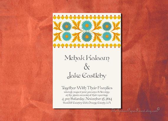 Wedding - PRINTABLE Invitation BROCADE FLOWERS Custom Design Diy Wedding Suite Anniversary Engagement Party Template Pdf Indian Digital Batik Rustic