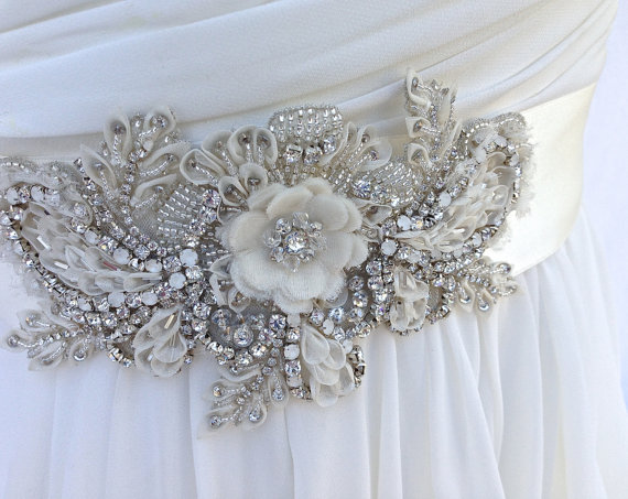 Ivory beaded bridal sash wedding sash with crystals for Ivory wedding dress belt