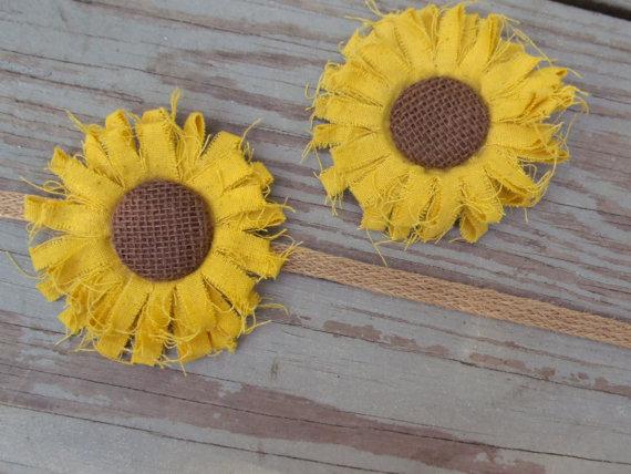 Hochzeit - Sunflower Wedding Sash-Sunflower Bridal Belt- Bridal Sash-Sunflower Flower Girl-Sunflower Hairclip- Sunflower Headband-Sunflower Wedding
