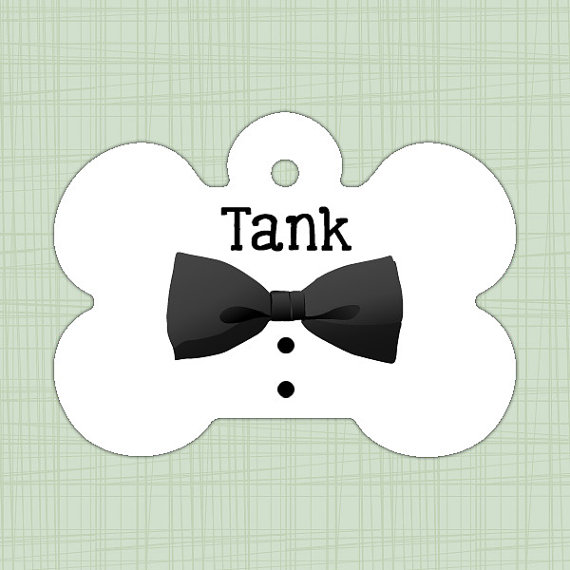 Mariage - Custom Wedding Pet ID Tag bone, Personalized Dog Tag, Identification name tag, Cat Tag, Lunch Box Tag, Bag Tag