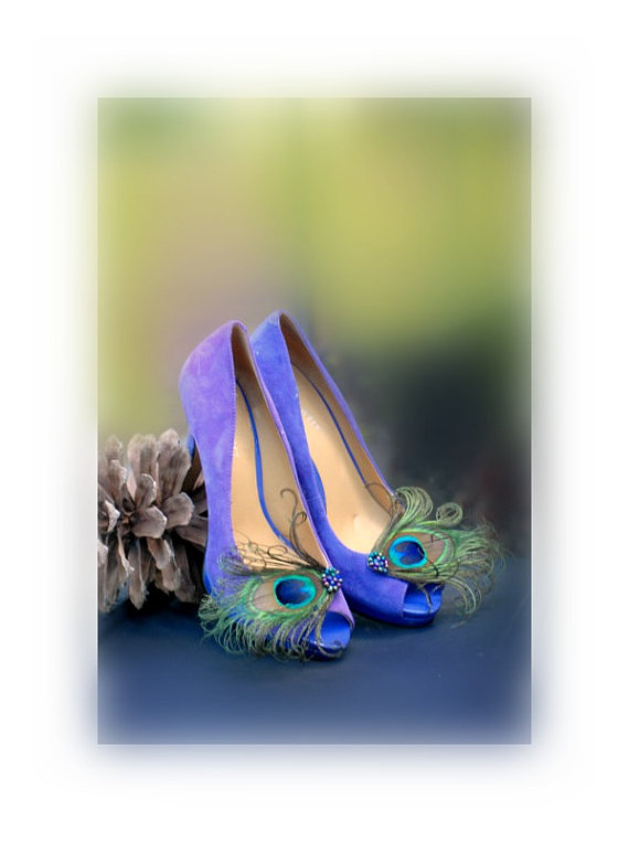 Feminine Burlesque Statement Teal Green Tan Shoe Clips Royal Iridescent Peacock Rockabilly Couture Bridal Bride Maid of Honor Summer Glam