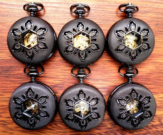 Wedding - Wedding Set of 6 Mens Black Mechanical Pocket Watches with Copper Dial and Vest Chains Groomsmen Gift Ships from Canada