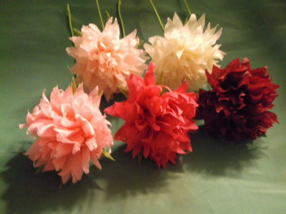 Hochzeit - 1.50 Each, 12 Long Stem Crepe Paper Peonies, Wedding Decoration, Birthday Decoration, Paper Flowers, Wedding bouquet, Paper Poms, Poms