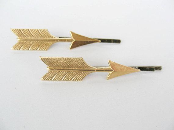 Свадьба - Gold arrows bobby pins set Modern hair pin Woodland wedding accessories Gold arrow hair pin, arrow hair accessories Europe hair accesories
